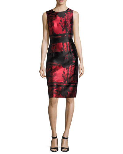 Floral & Stripe Sheath Cocktail Dress, Red/Black