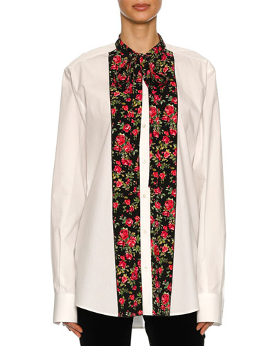Rose-Paneled Poplin Tunic Blouse, White Pattern