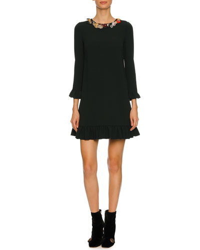 Button-Embellished 3/4-Sleeve Cady Cocktail Dress, Black