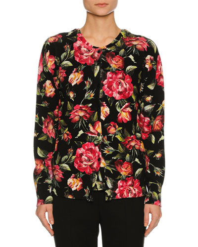Rose-Print Cashmere Cardigan, Black
