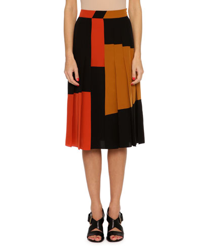 Pleated Colorblock Crepe de Chine Skirt, Multi