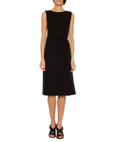 Sleeveless Wool Crepe Dress, Navy
