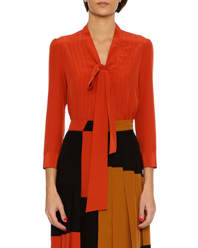 Tie-Neck Crepe de Chine Blouse, Red