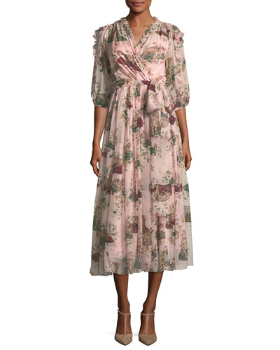 Cat & Floral Chiffon Wrap Dress, Light Pink