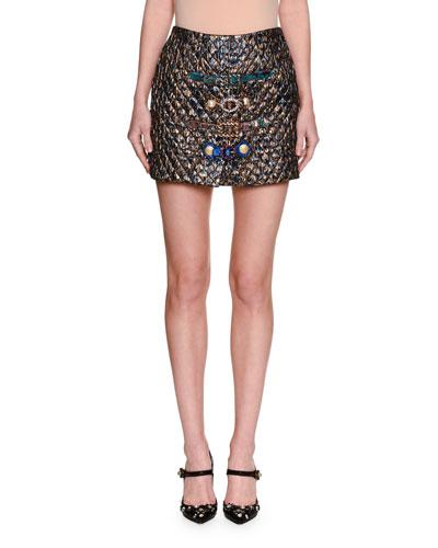 Matelassé Jacquard Miniskirt with Belts, Blue/Gold