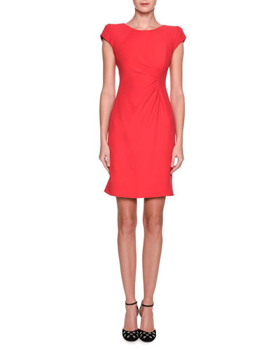 Cap-Sleeve Ruched Jersey Dress, Pink