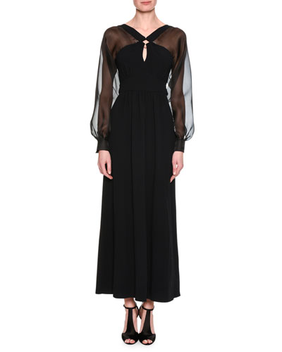 Chiffon-Sleeve Keyhole-Front Gown, Black