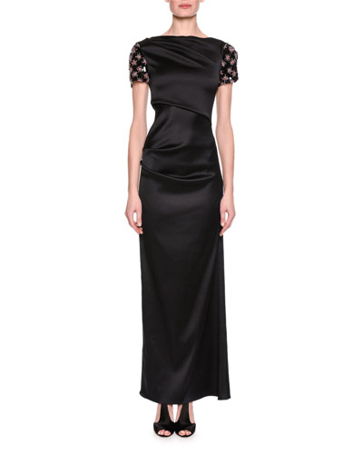Embellished-Sleeve Satin Column Gown, Black