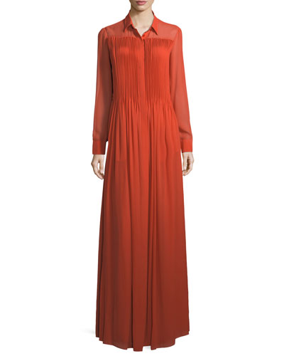 Long-Sleeve Sheer Georgette Maxi Dress
