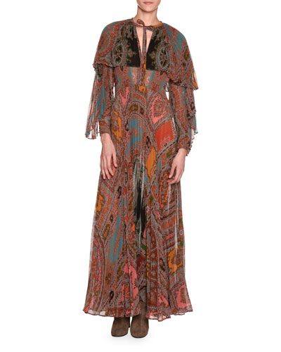 WOMAN CAPE-EFFECT PLEATED PRINTED GEORGETTE MAXI DRESS MULTICOLOR