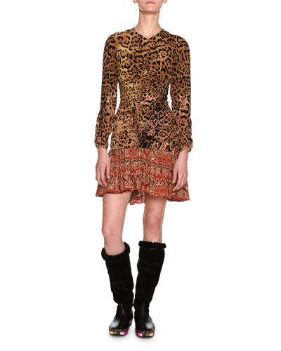 Leopard & Paisley Ruched Long-Sleeve Minidress, Ivory