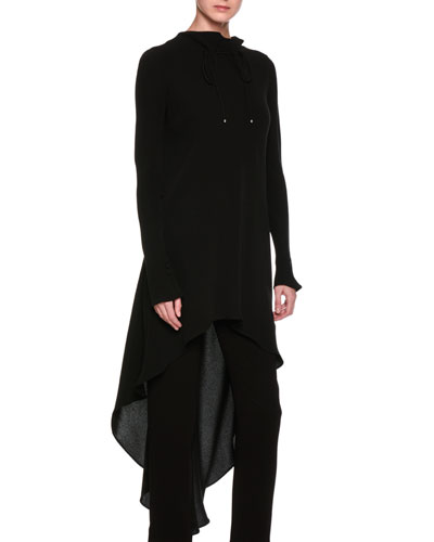 High-Low Ruched Funnel-Neck Silk Tunic, Black