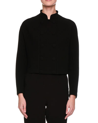 Double-Breasted Stand-Collar Short Jacket, Black