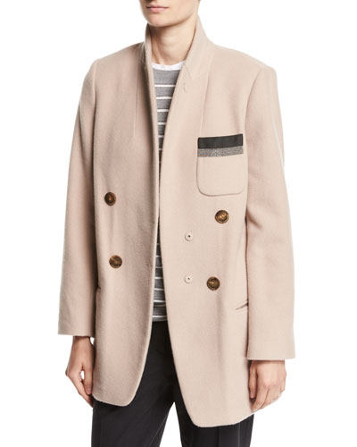 Double-Breasted Cashmere Mid-Length Jacket, Pink
