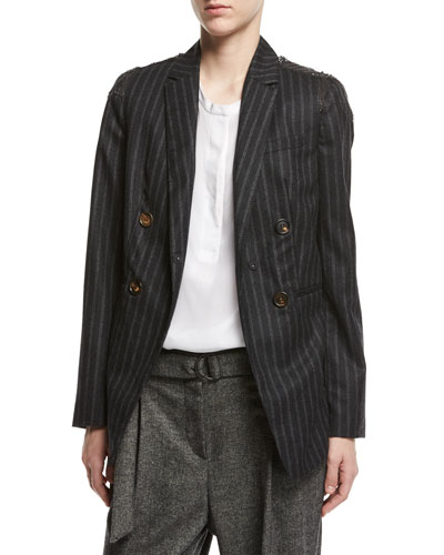 Regimental-Stripe Double-Breasted Jacket with Swarovski® & Monili ...