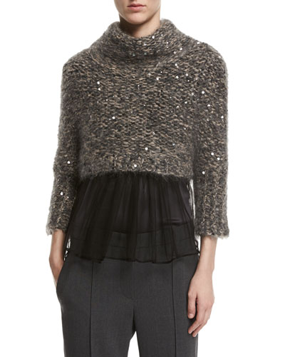 Paillette-Embellished Cropped Mock-Neck Pullover, Gray/Pink