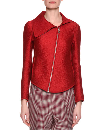 Jacquard Asymmetric-Zip Jacket, Red
