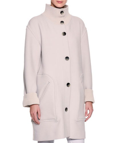 3/4-Length Single-Breasted Knit Coat, Gray