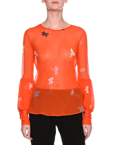 Sheer Floral-Print Silk Top, Orange