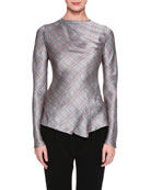 Glen Plaid Draped Silk Blouse, Gray/Orange