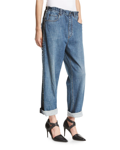 Relaxed-Fit Drawstring Jeans with Metallic Stripes, Blue