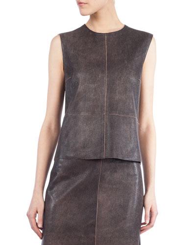 Sleeveless Antique Napa Leather Top, Sepia