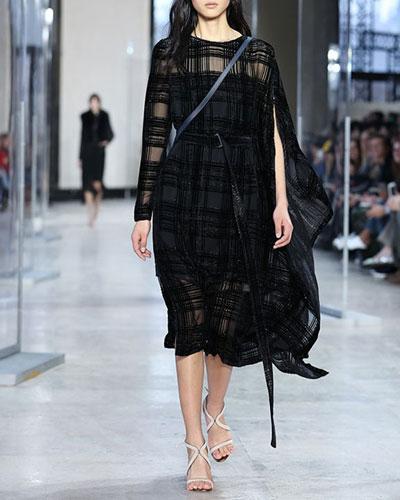 Plaid Jacquard One-Sleeve Cape Dress, Black