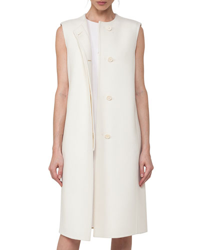 Sleeveless Double-Face Wool Shift Dress, Crema