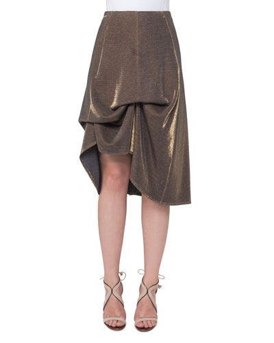 Metallic Jersey Bustle A-Line Skirt, Gold