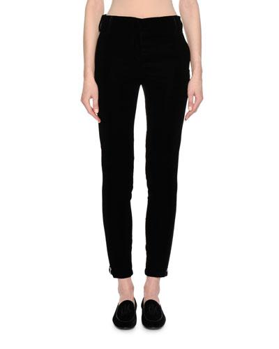 Velvet Side-Zip Pants, Black