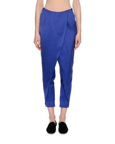 Satin Skirted Harem Pants, Royal Blue