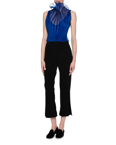 Sheer Plissé Sleeveless Blouse, Royal Blue