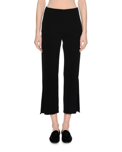 Cady Cropped Pants with Side Vents, Black