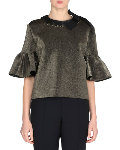 Metallic Ruffle-Sleeve Top with Ribbon Trim, Gold
