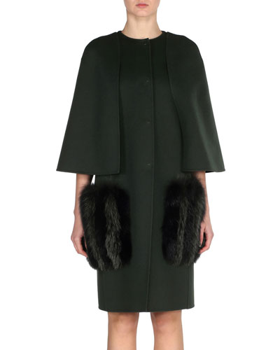 Wool Cape Coat with Fox Fur Pockets