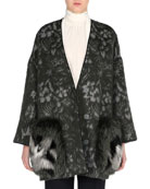 Floral-Print Swing Topper with Fox Fur Pockets, Black