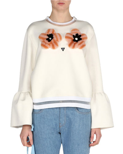 Bell-Sleeve Sweatshirt with Mink Flower Appliqués, White