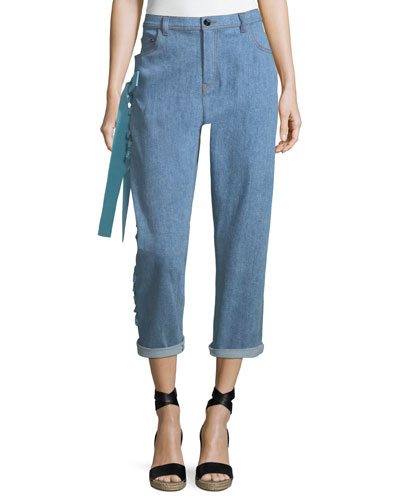 Cropped Boyfriend Jeans with Lace-Up Sides, Blue