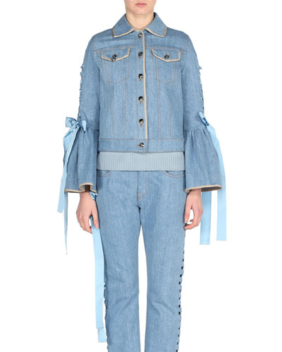 Denim Bell-Sleeve Jacket with Lace-Up Ribbons