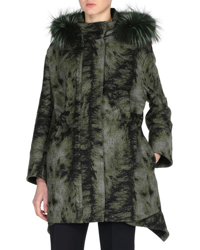 Fur-Print Parka with Fox Fur Hood, Black