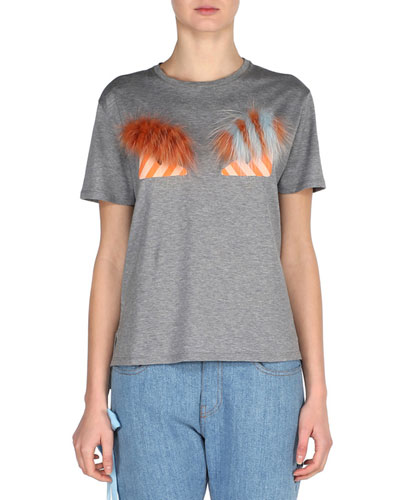 Monster Eyes Crewneck T-Shirt with Fox Fur