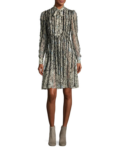 Floral Waves Fringe-Trim Silk Tie-Neck Shirtdress, Blue/Black