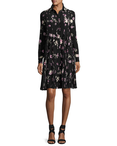 Floral-Print Silk Crepe de Chine Shirtdress, Black/Pink