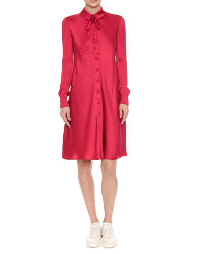 Silk Satin Tie-Neck Shirtdress, Pink