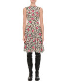 Sleeveless Floral Wave Dress, Multi