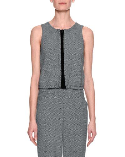 Herringbone Blouson Vest, Gray