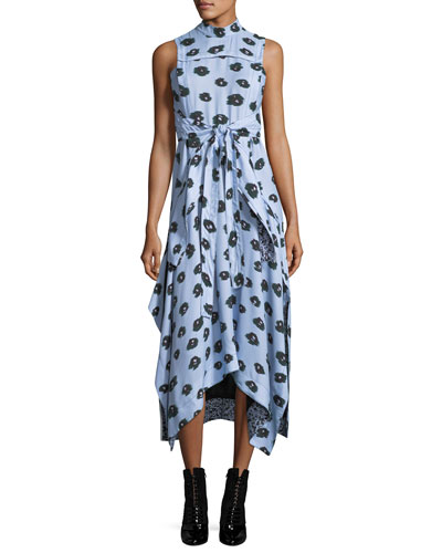 Poppy-Print Viscose Wrap-Front Midi Dress