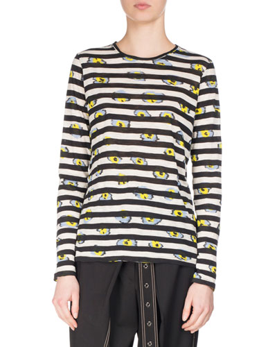 Striped Ikat Pansy Long-Sleeve T-Shirt, Black/White/Multi