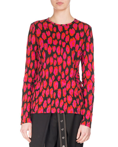 Ikat Leopard Long-Sleeve T-Shirt, Black/Pink/Pumpkin