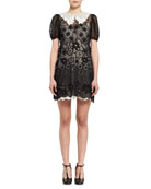 Starry Night Short-Sleeve Organza Dress, Black